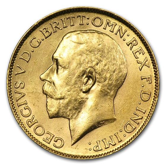 1918 India Gold Sovereign George V AU