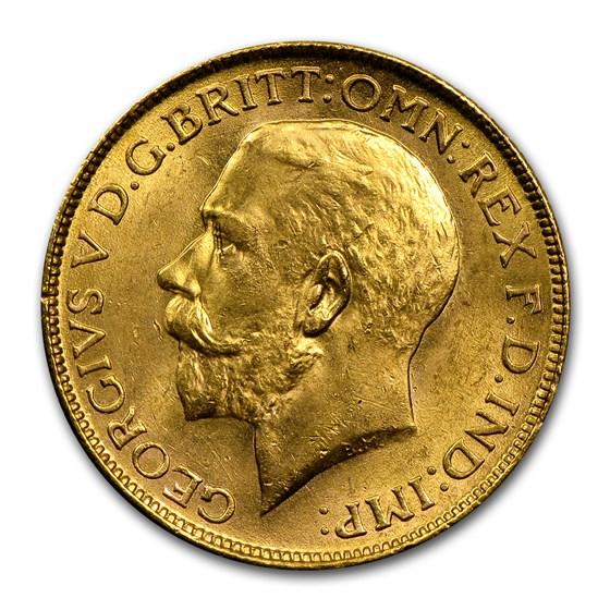 1918 India Gold Sovereign George V BU