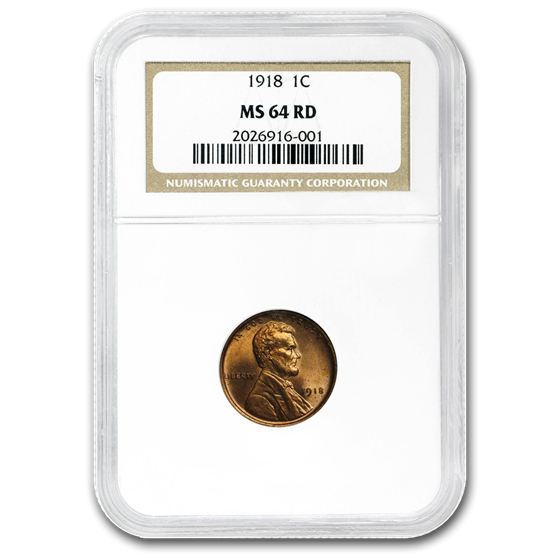 1918 Lincoln Cent MS-64 NGC (Red)