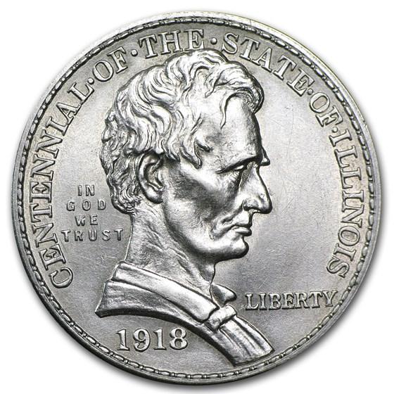 1918 Lincoln Illinois Centennial Half AU