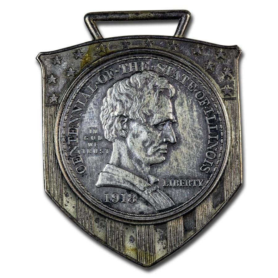 1918 Lincoln Illinois Centennial Half Dollar Watch Fob
