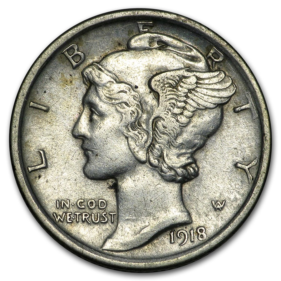 1918 Mercury Dime XF