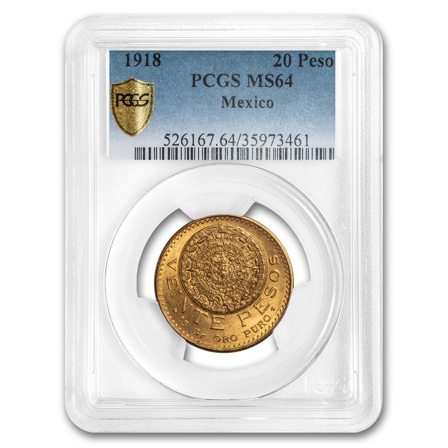 1918 Mexico Gold 20 Peso MS-64 PCGS