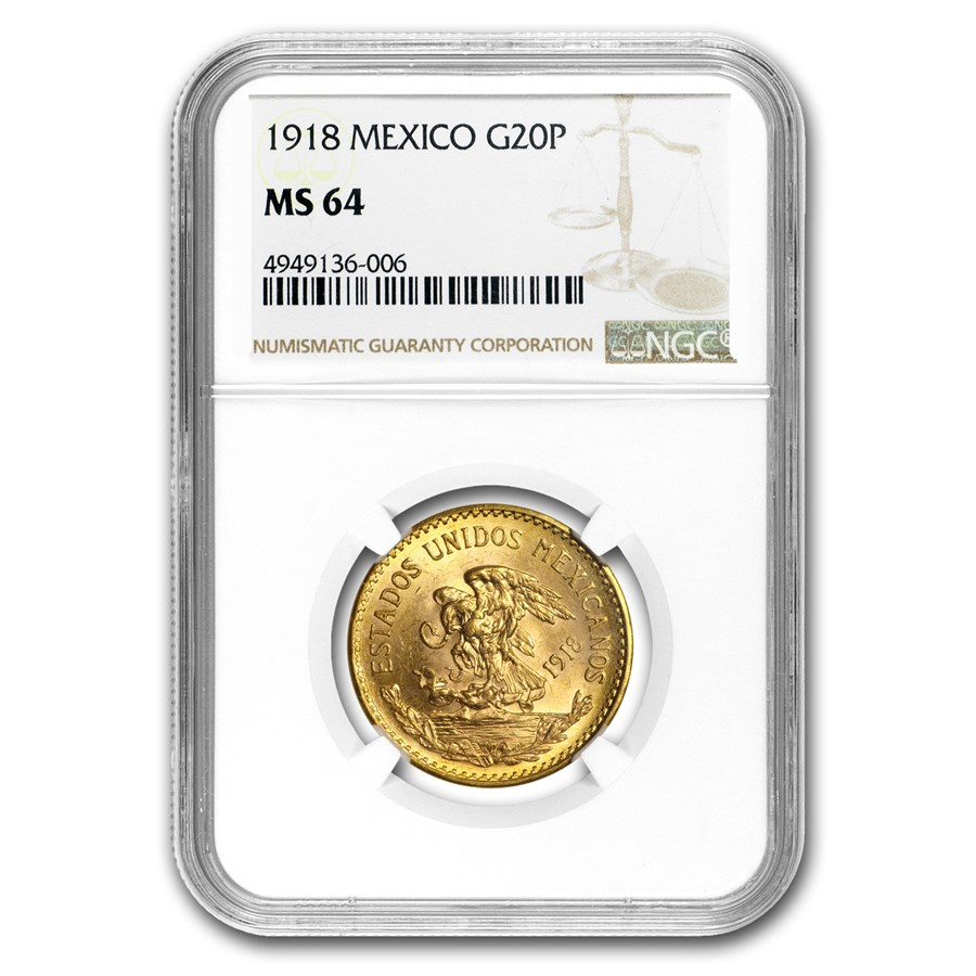 1918 Mexico Gold 20 Pesos MS-64 NGC