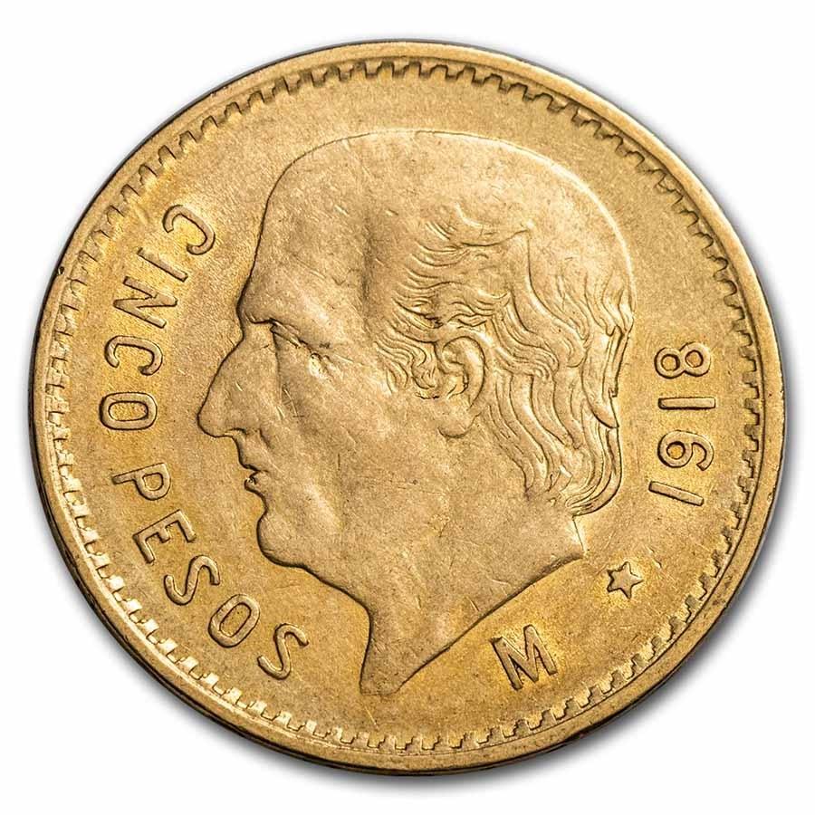 1918 Mexico Gold 5 Pesos BU