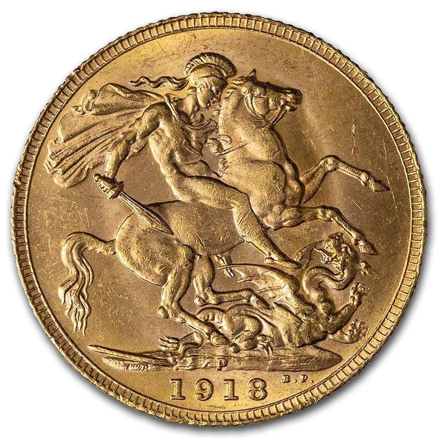 1918-P Australia Gold Sovereign George V BU
