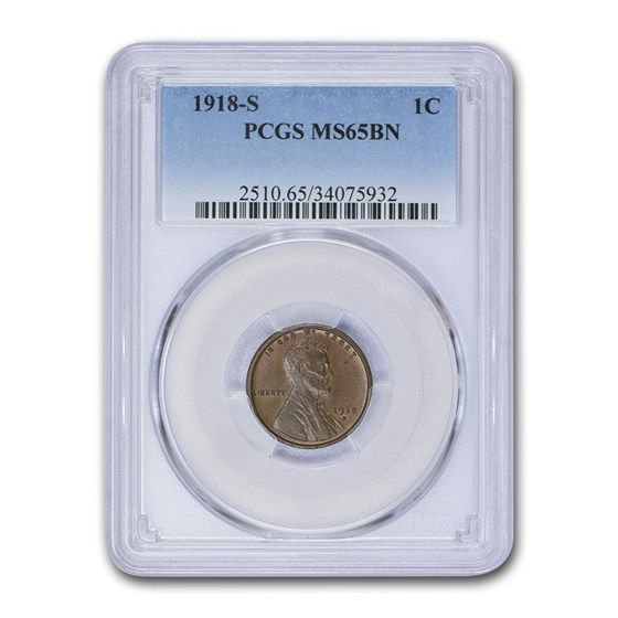 1918-S Lincoln Cent MS-65 PCGS (Brown)