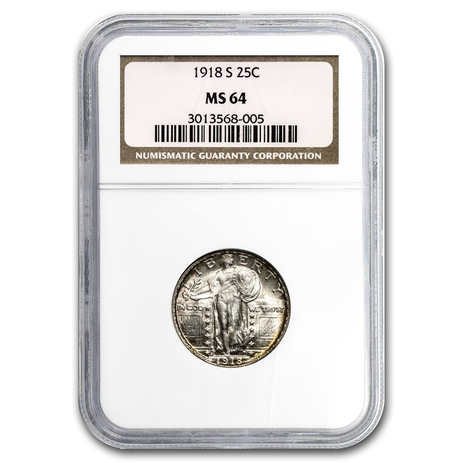 1918-S Standing Liberty Quarter MS-64 NGC