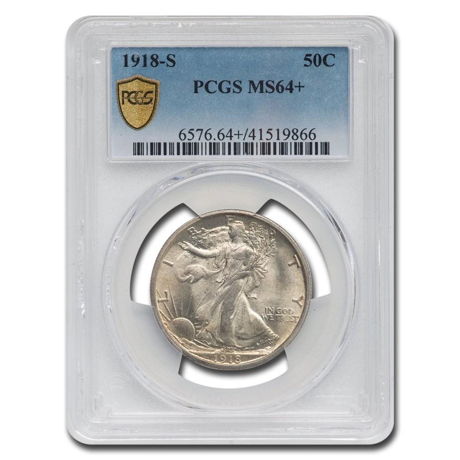 1918-S Walking Liberty Half Dollar MS-64+ PCGS