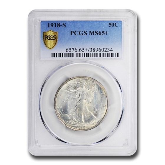 1918-S Walking Liberty Half Dollar MS-65+ PCGS