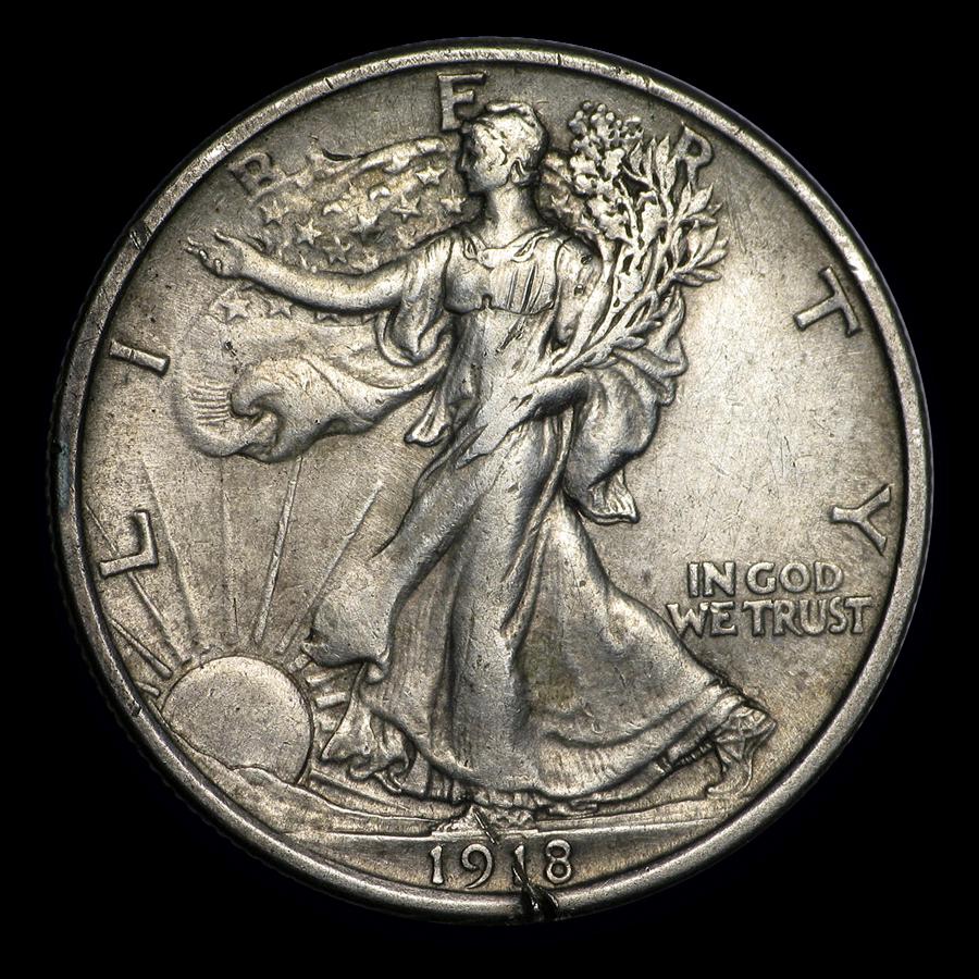 1918 Walking Liberty Half Dollar AU (Details)