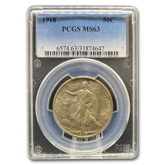 1918 Walking Liberty Half Dollar MS-63 PCGS