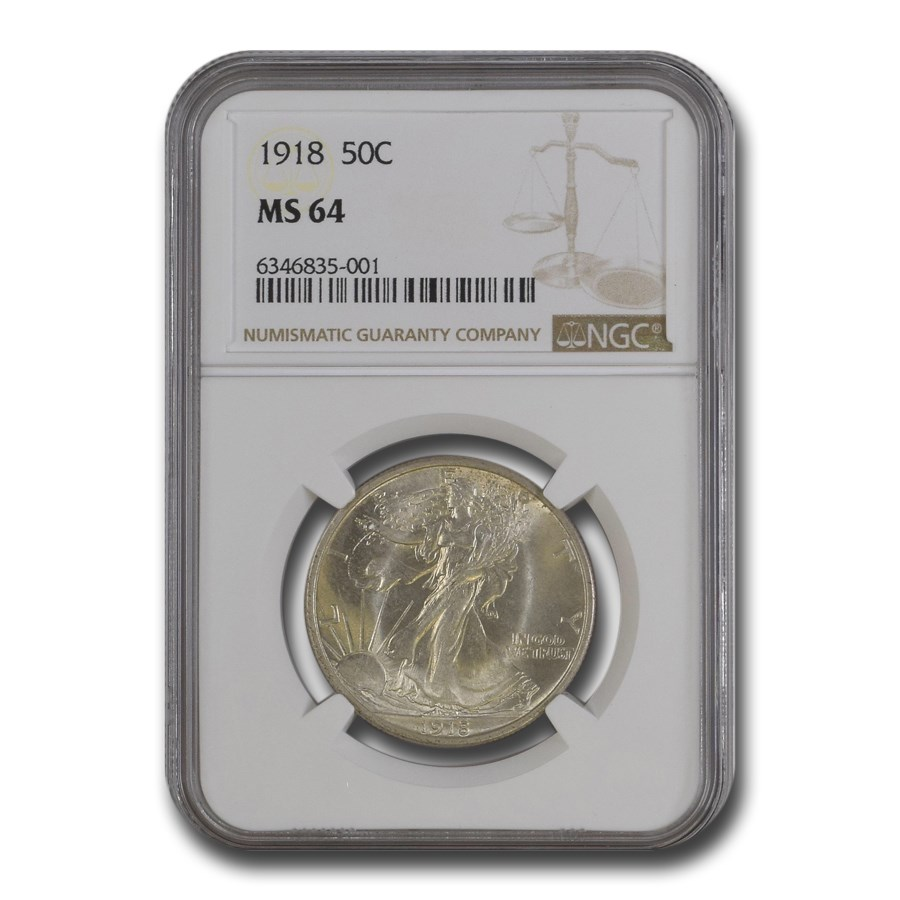 1918 Walking Liberty Half Dollar MS-64 NGC