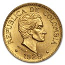 1919-1930 Colombia Gold 5 Pesos BU (Random)