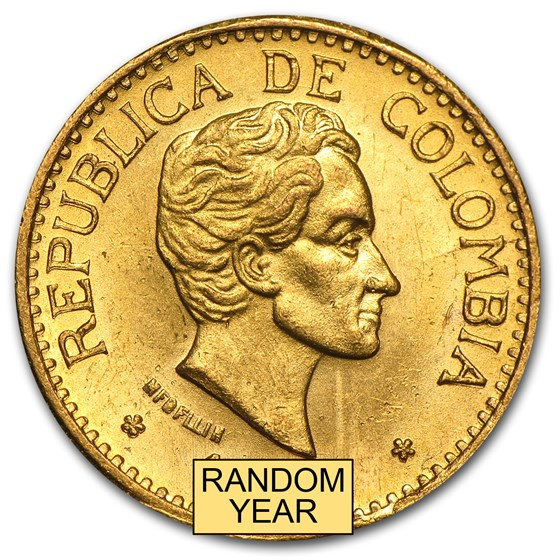 1919-1930 Colombia Gold 5 Pesos Simon Bolivar (AU)