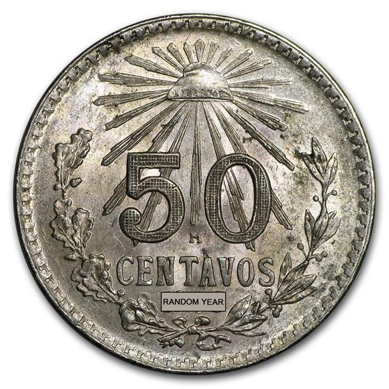 1919-45 Mexico Silver 50 Centavos Cap & Ray Avg Circ (ASW .1929)