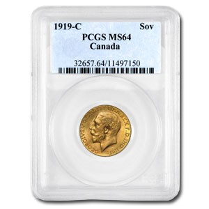 1919-C Canada Gold Sovereign MS-64 PCGS