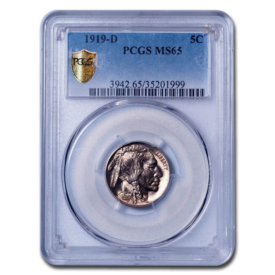 1919-D Buffalo Nickel MS-65 PCGS