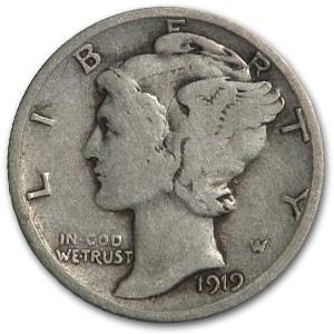 1919-D Mercury Dime VG