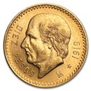 1919 Mexico Gold 10 Pesos AU