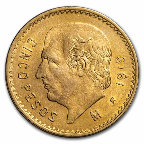 1919 Mexico Gold 5 Pesos BU