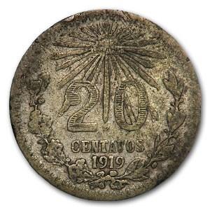 1919 Mexico Silver 20 Centavos Fine