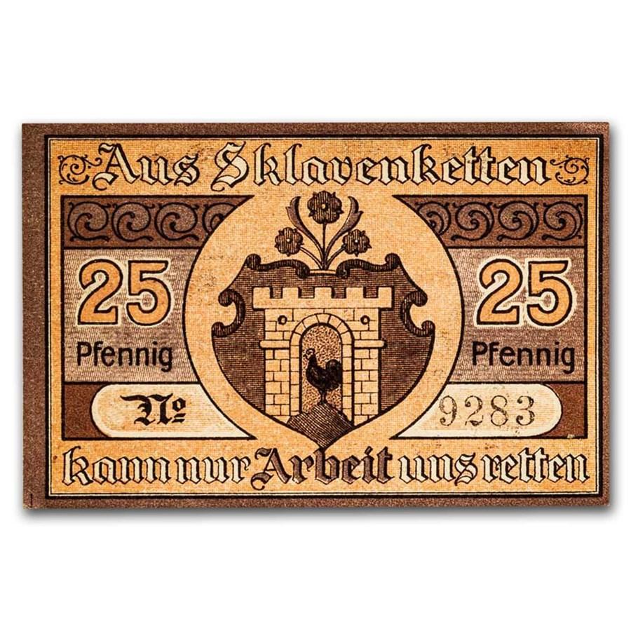 1919 Notgeld Kaltennordheim 25 Pfennig CU (Peach/Brown)