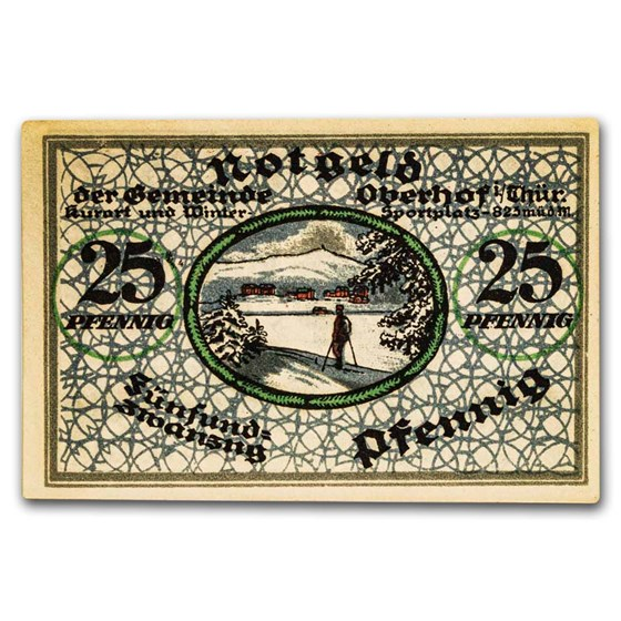 1919 Notgeld Oberhof im Thüringen 25 Pfennig CU (Lt Blue)