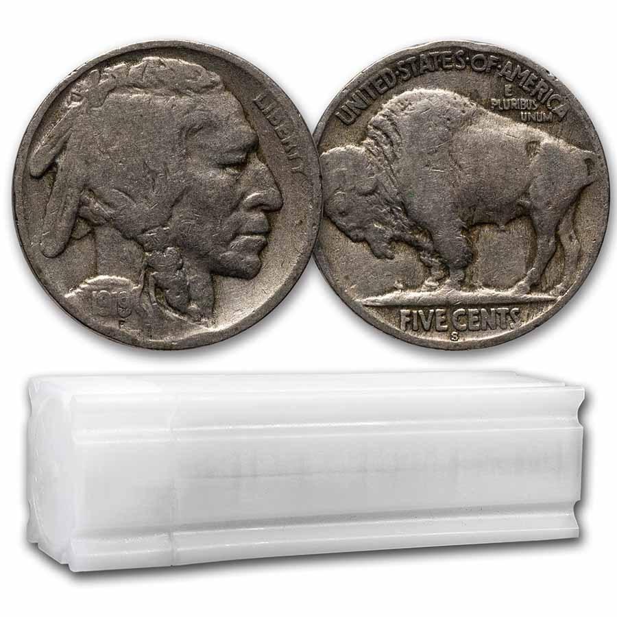 1919-S Buffalo Nickel 40-Coin Roll Avg Circ