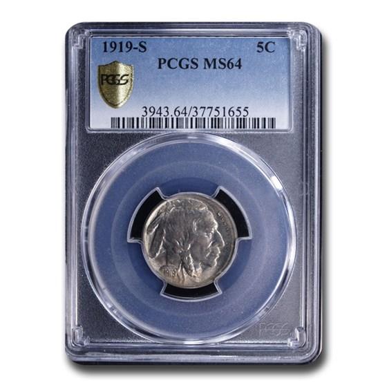 1919-S Buffalo Nickel MS-64 PCGS
