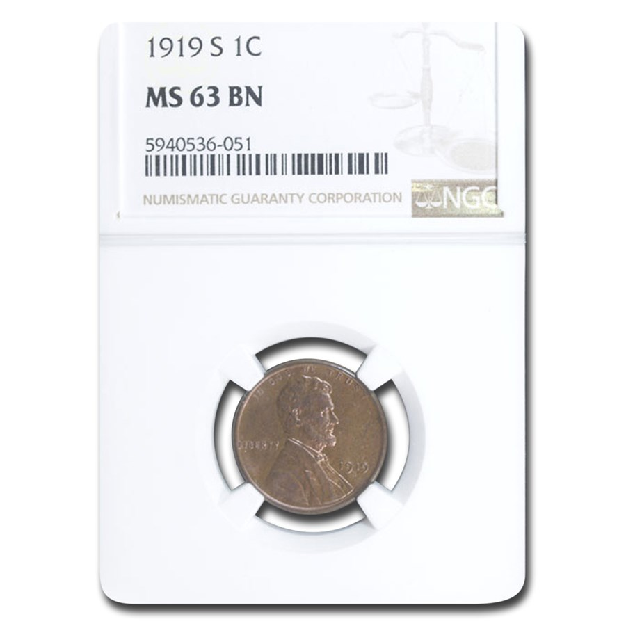 1919-S Lincoln Cent MS-63 NGC (Brown)