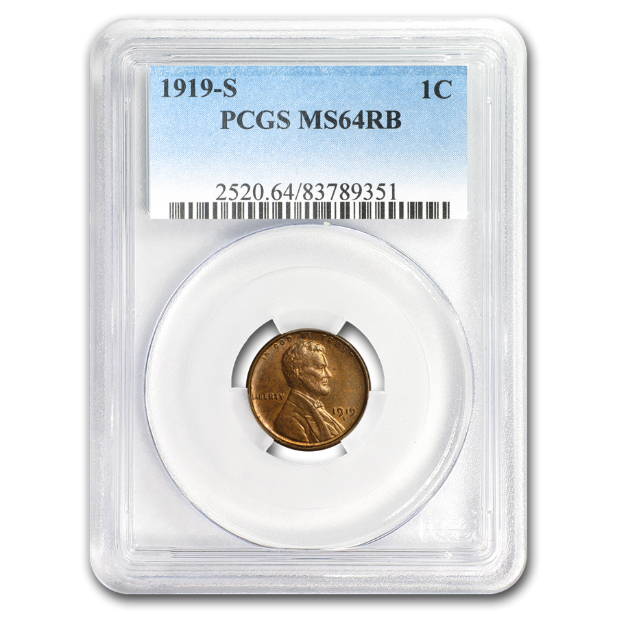 1919-S Lincoln Cent MS-64 PCGS (Red/Brown)