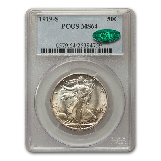 1919-S Walking Liberty Half Dollar MS-64 PCGS CAC
