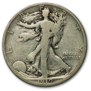 1919-S Walking Liberty Half Dollar VG