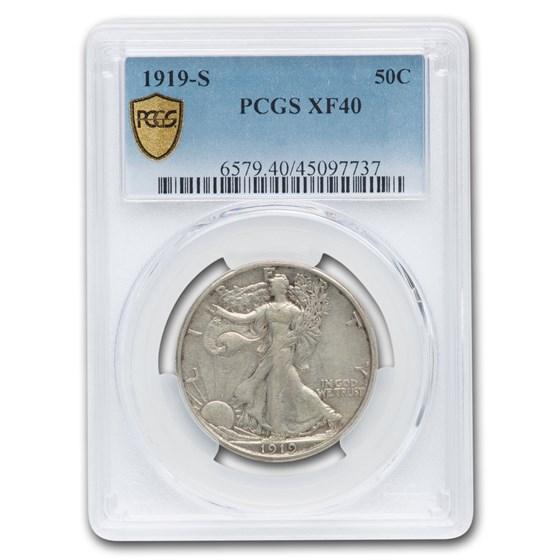 1919-S Walking Liberty Half Dollar XF-40 PCGS