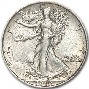 1919 Walking Liberty Half Dollar AU-55 Details (Cleaned)