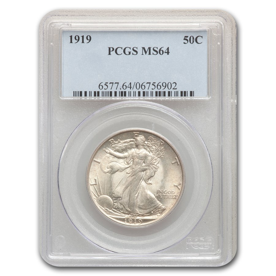 1919 Walking Liberty Half Dollar MS-64 PCGS