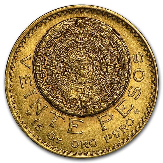 1920/10 Mexico Gold 20 Pesos AU/BU