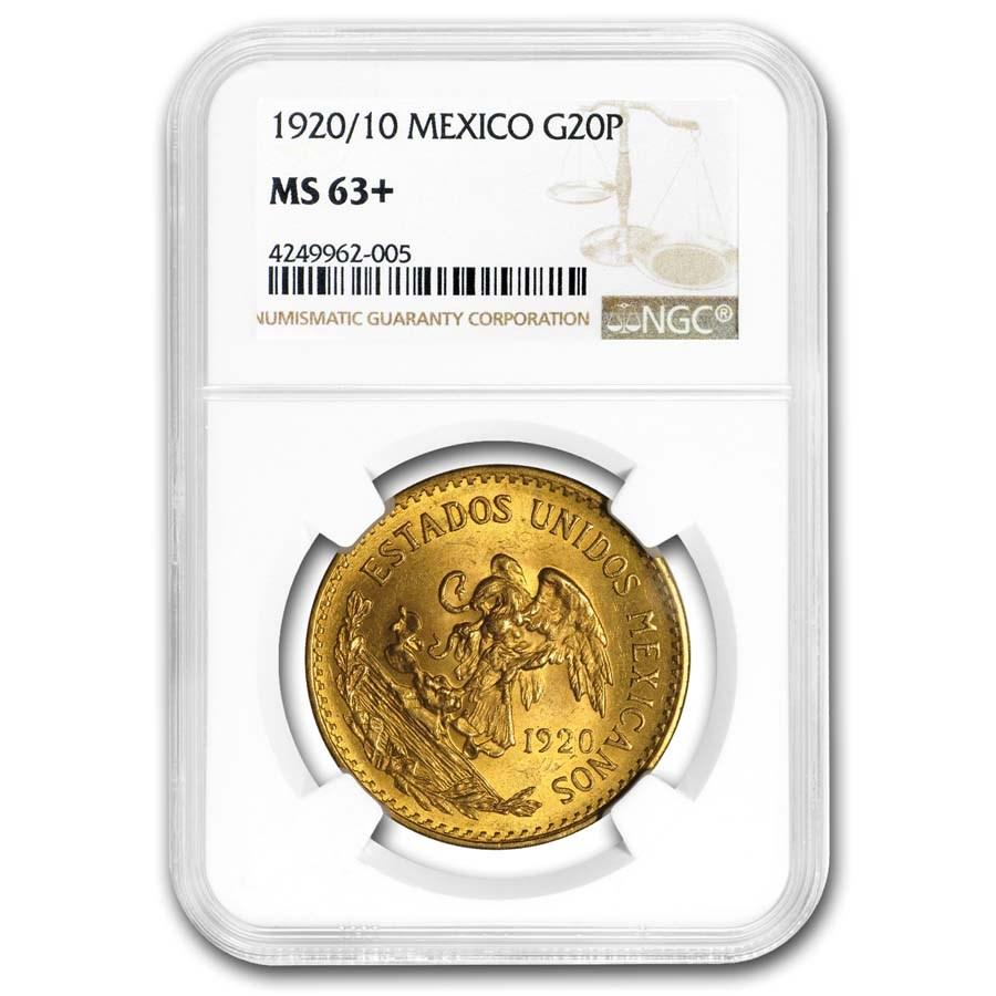 1920/10 Mexico Gold 20 Pesos MS-63+ NGC