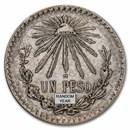 1920-1945 Silver Mexican 1 Peso Cap & Rays Avg Circ