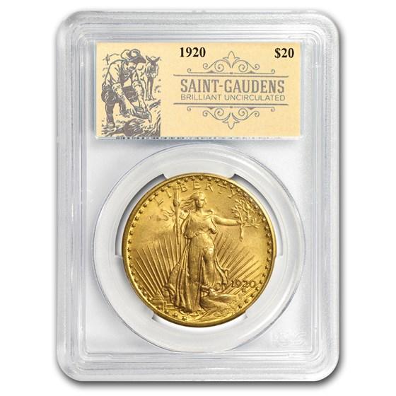 1920 $20 Saint-Gaudens Double Eagle BU PCGS (Prospector Label)