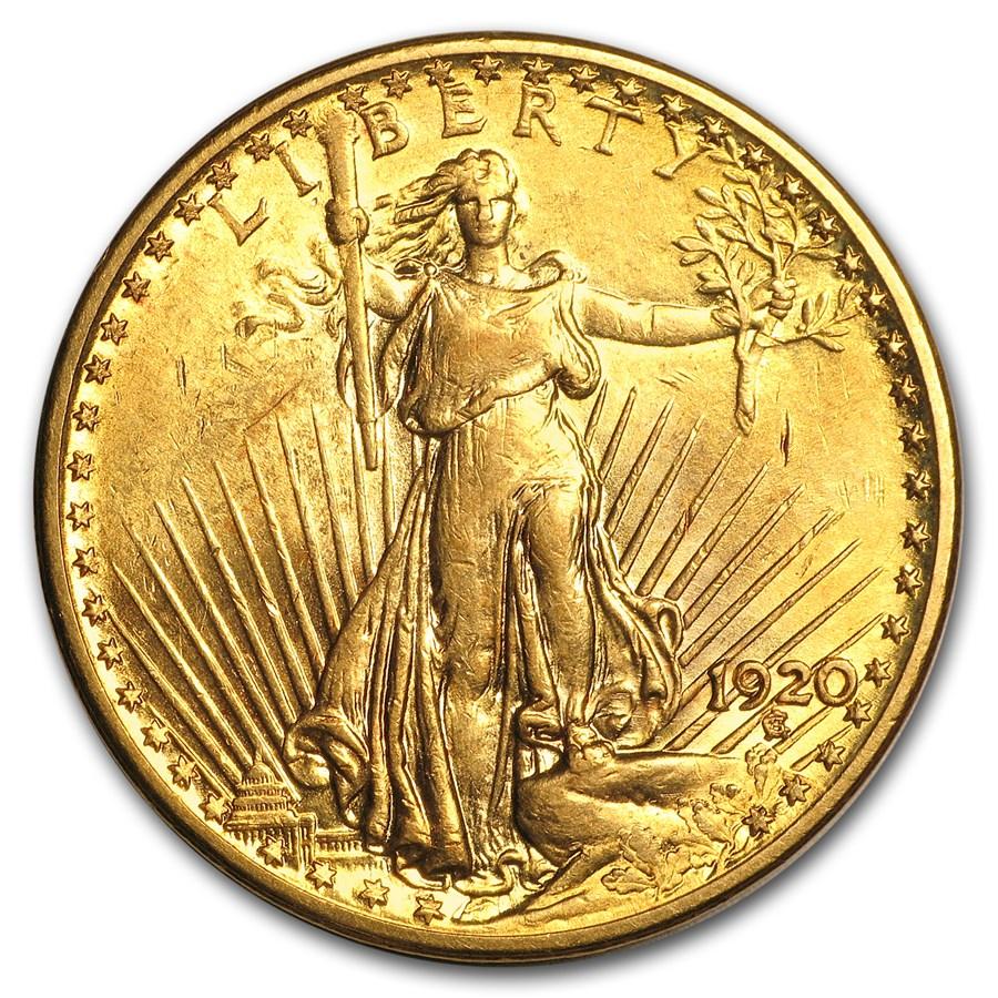 1920 $20 Saint-Gaudens Gold Double Eagle AU