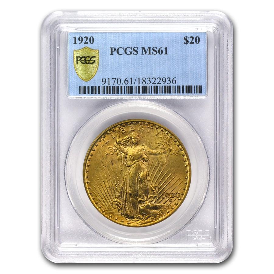 1920 $20 Saint-Gaudens Gold Double Eagle MS-61 PCGS