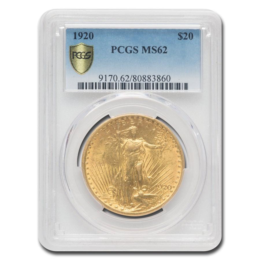 1920 $20 Saint-Gaudens Gold Double Eagle MS-62 PCGS