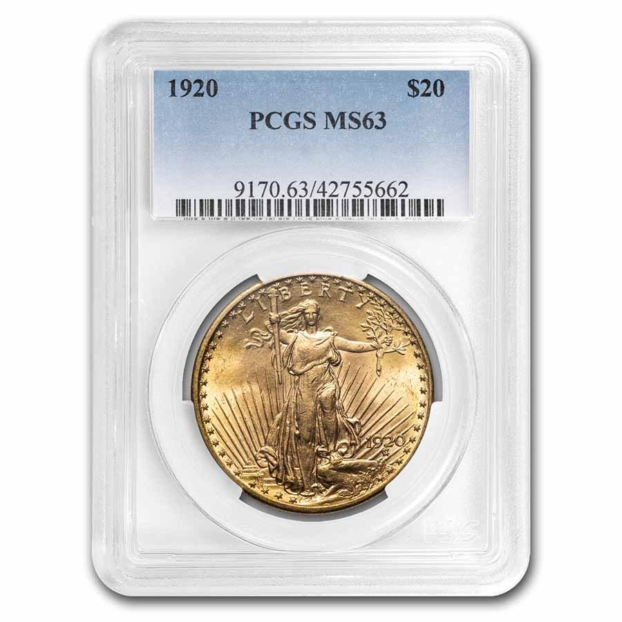 1920 $20 Saint-Gaudens Gold Double Eagle MS-63 PCGS