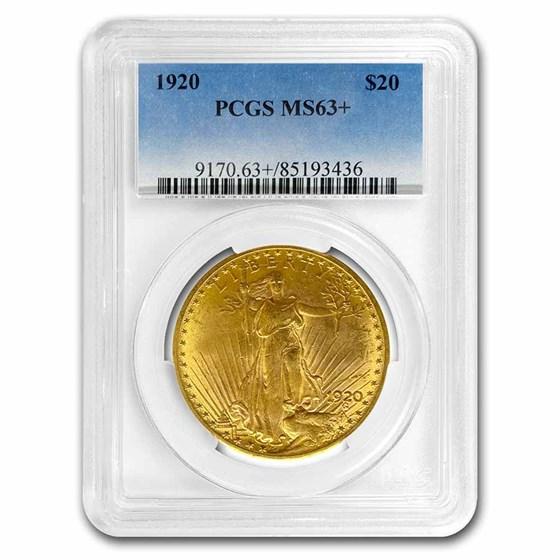 1920 $20 Saint-Gaudens Gold Double Eagle MS-63+ PCGS