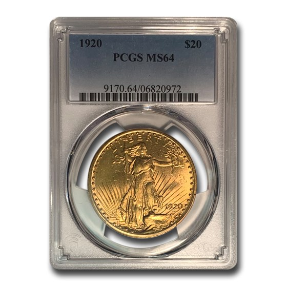 1920 $20 Saint-Gaudens Gold Double Eagle MS-64 PCGS