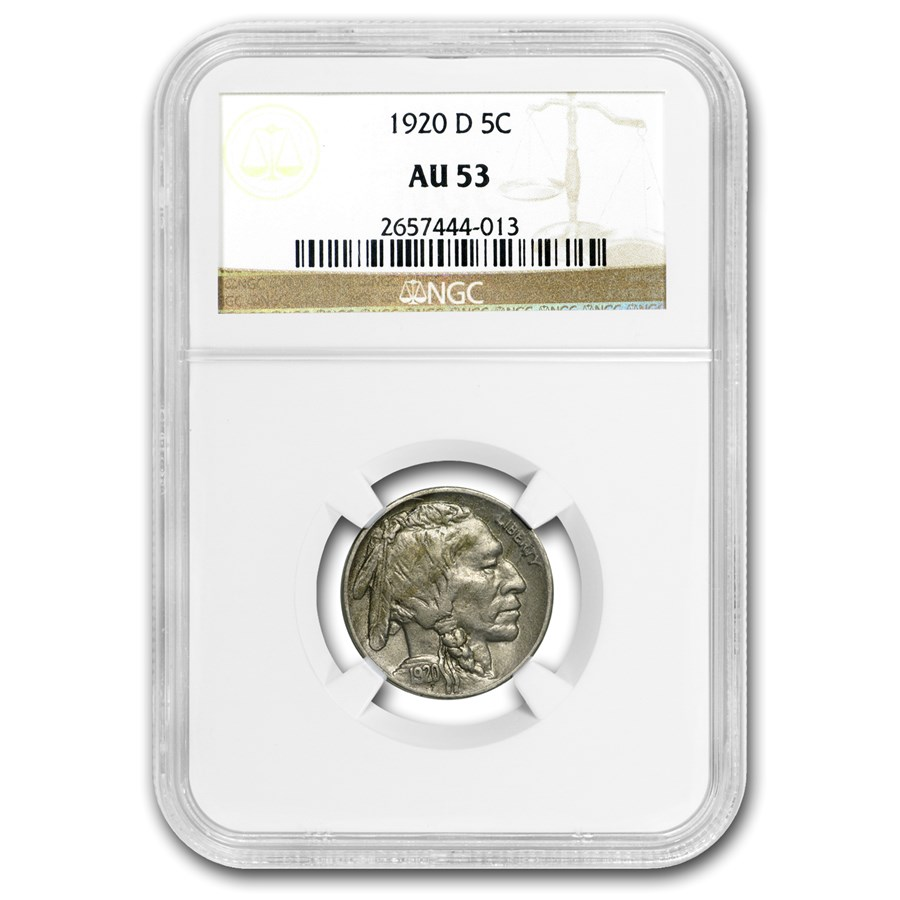 1920-D Buffalo Nickel AU-53 NGC