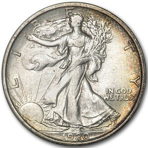 1920-D Walking Liberty Half Dollar AU Details (Cleaned)