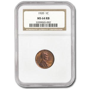 1920 Lincoln Cent MS-64 NGC (Red/Brown)